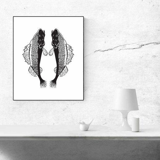 Illustration - schwarz-weiß - Fische