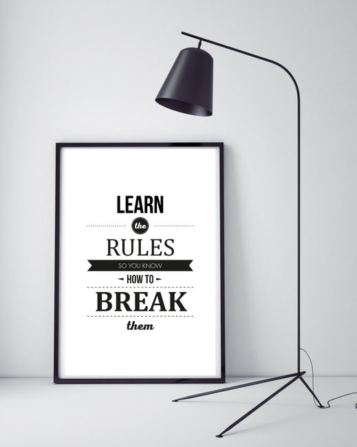Typografie Poster Motivation, Learn the rules