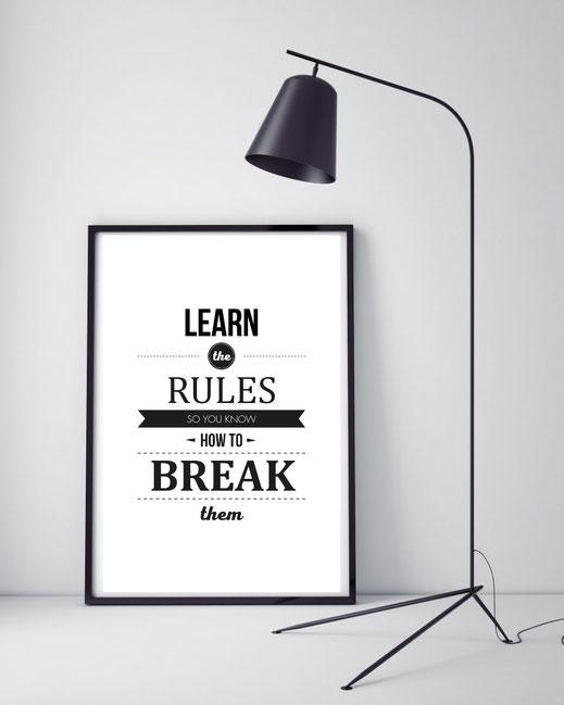 Typografie Poster, Motivierende Typografie Prints, Learn the rules