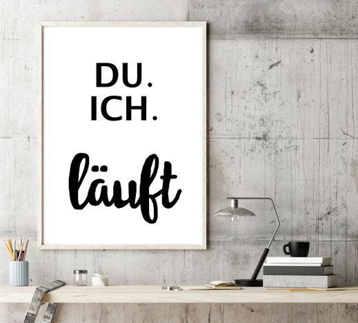 Typografie Poster Lifestyle, du ich läuft