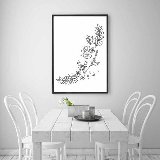 Illustration - schwarz-weiß - Flowerpower