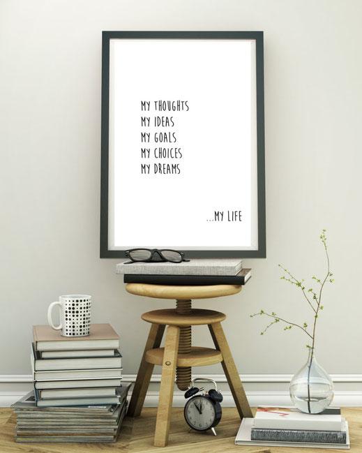 Typografie Print my life, Poster, Inspiration