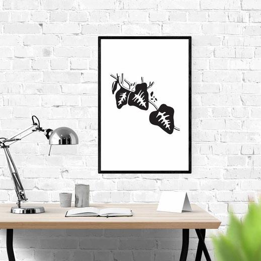 Illustration - schwarz-weiß - Efeu