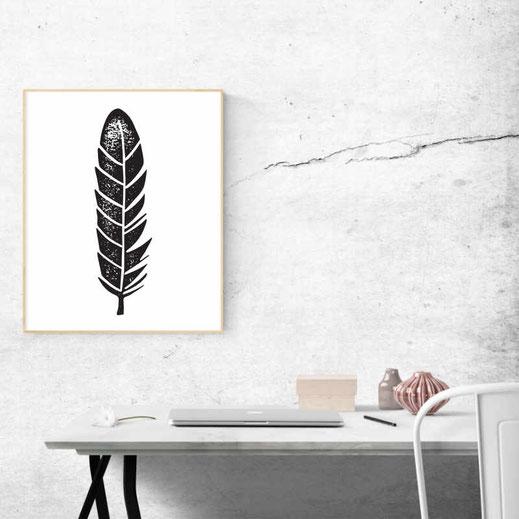 Illustration - schwarz-weiß - Federleicht