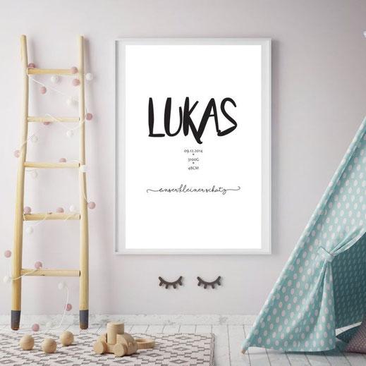 Typografie Poster, Personalisierte Birth Prints | Personalisierbare Bilder zur Geburt oder Taufe