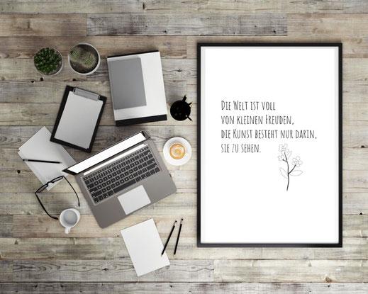 Typografie Poster, Typografie Print, kleine Freuden