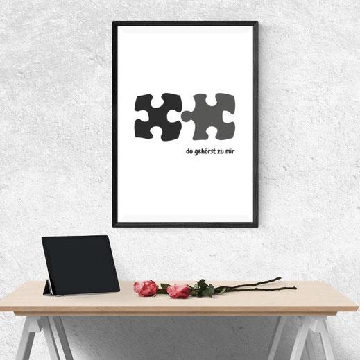 Typografie Print, Typografie Poster, Geschenkidee, Liebe | Du gehörst zu mir