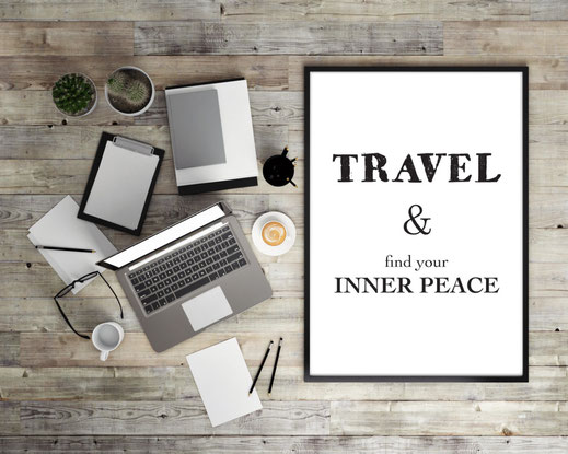 Typografie Reisen, Print - Travel & Find your inner peace
