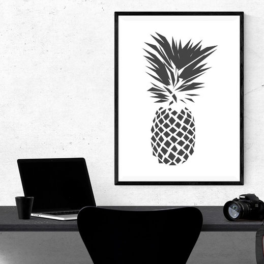 Illustration Ananas, Print, Poster