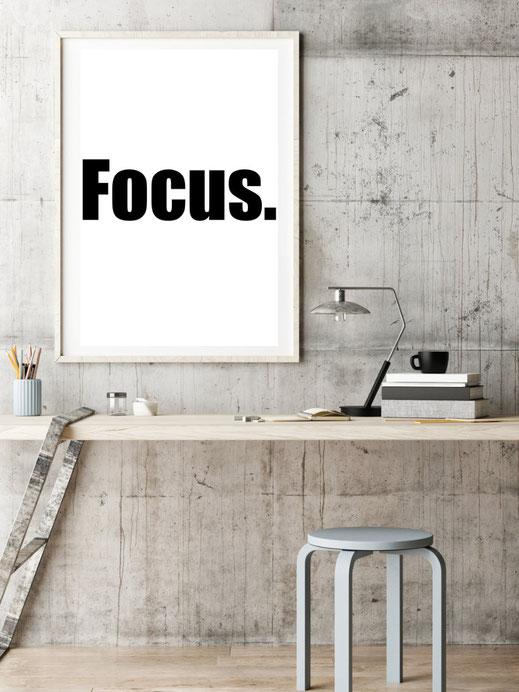 Typografie Print, Poster zur Motivation, Focus