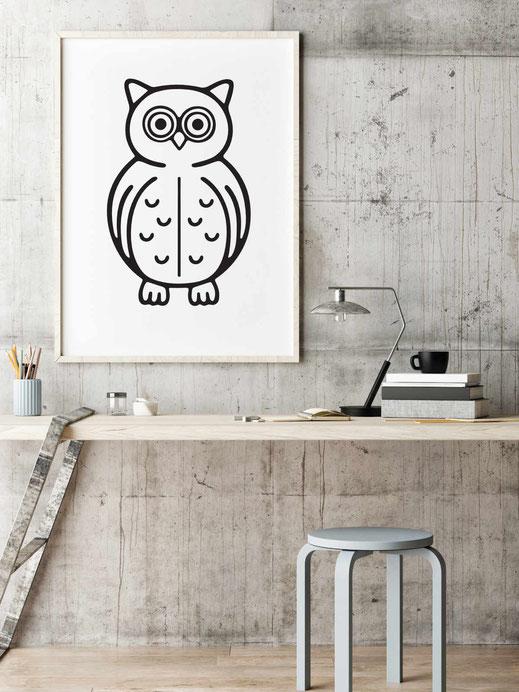 Illustration - schwarz-weiß - Eule