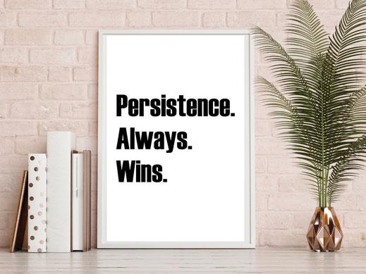 Typografie Poster, Motivation - Persistence always wins