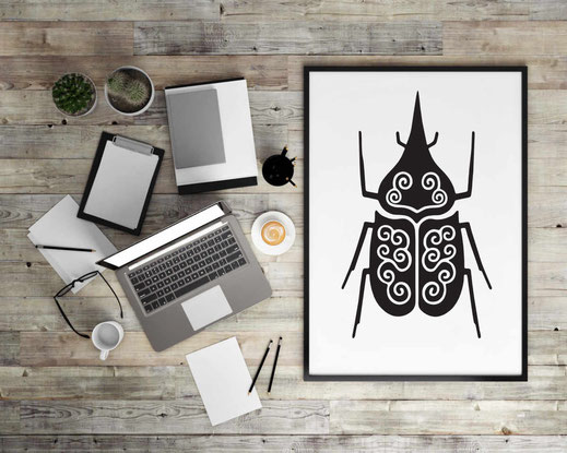 Illustration - schwarz-weiß - Käfer