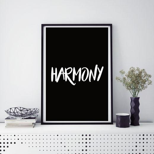 Typografie Poster, Typografie Print, Harmony, Wandbild