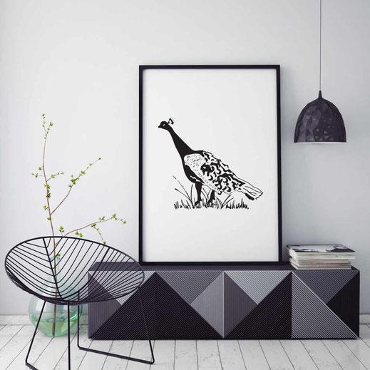 Illustration - schwarz-weiß - Pfau