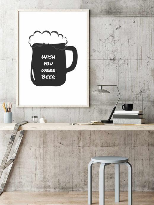 Typografie Poster Wish you were beer