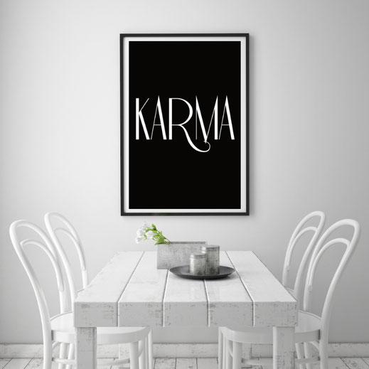 Typografie Print, Karma, Poster