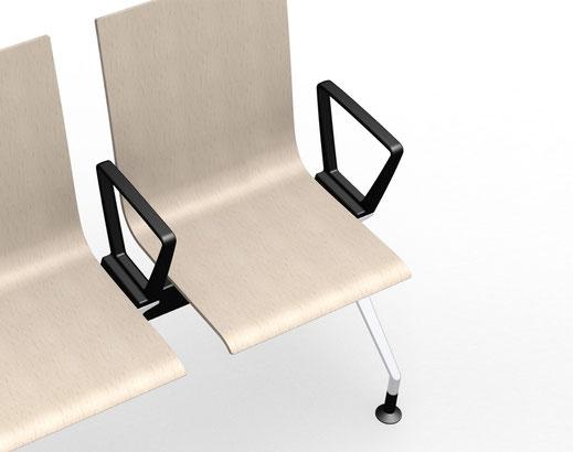 Dauphin Amico Banksystem mit Armlehne und Formholz Sitzschale