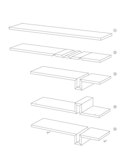 Wandregal, Buchstütze integriert, selbsttragend, minimalistisch, Gehrung