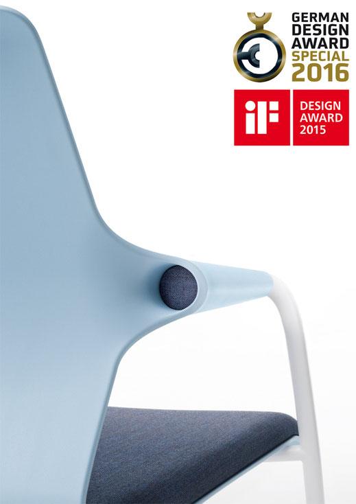 Sedus allright Freischwinger Detail Rückenanbindung, IF Design Award 2015, German Design Award 2016 special