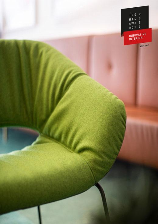 Averio Sessel, Züco, Lounge, Iconic Award 2020, Design, supersoft, Kufengestell