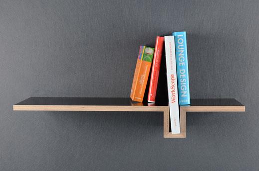 Wandregal, Buchstütze integriert, minimalistisch, form follows function