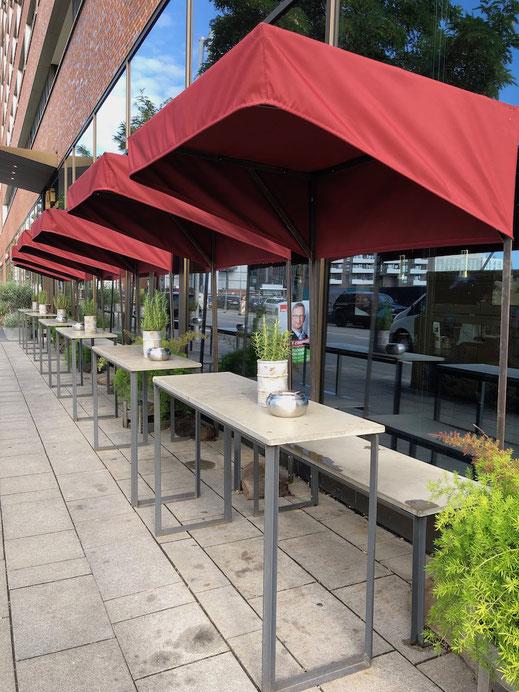 Sitzecke für schmale Terrasse