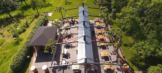 Großflächenmarkise Gastronomie Terrasse