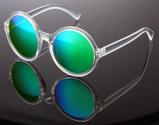Schöne, verspiegelte Sonnenbrille, gruen/blau mit transparentem Gestell.
