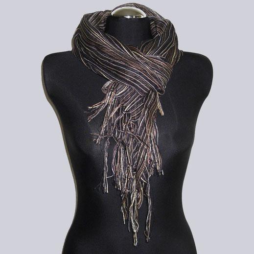 Wunderschöner, schwarzer  Schal mit tollen Streifen in unterschiedlichen Braun-Goldtönen