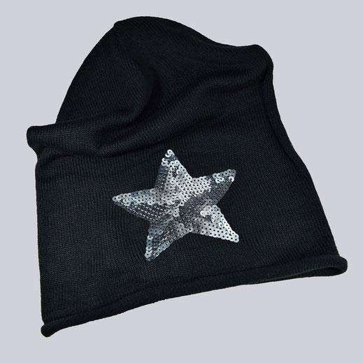 Tolle, schwarze Beanie Muetze mit silberfarbenen, schönen, glänzenden Pailetten.