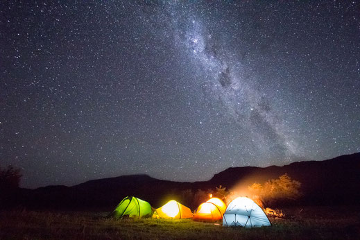 milkway over tents campin on carretera austral chile patagonia