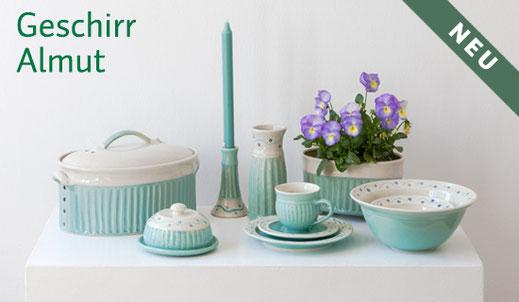 Handgemachtes Porzellangeschirr, mint , Tasse, Brottopf, Schüssel, Vase