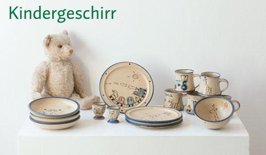 Kindergeschirr aus Keramik mit Beschriftung und Namen handgemacht, Kinderteller, Kindertassen, Kindermüslischale, Breiteller