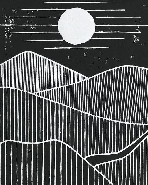 Décoration ikken - Affiche Collines - noir