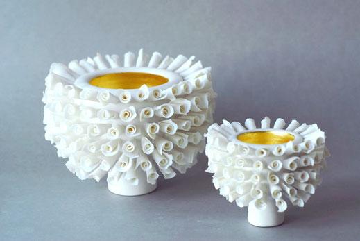 Rosebowl I und II, Porzellan mit Blattgold