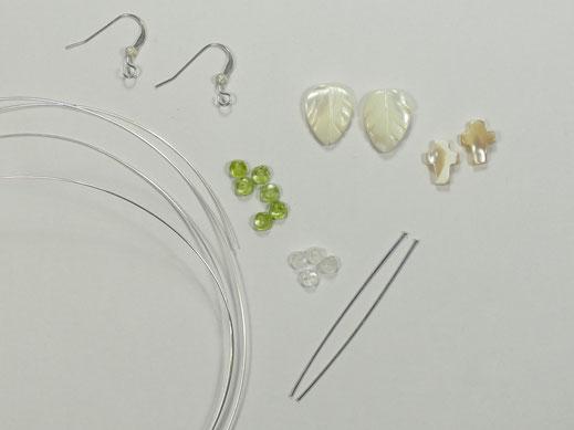 matériel boucles d'oreilles péridot Pakistan pierre de lune nacre feuille