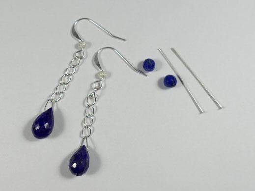 matériel boucles d'oreilles lapis lazuli d'afghanistan en goutte et ronde