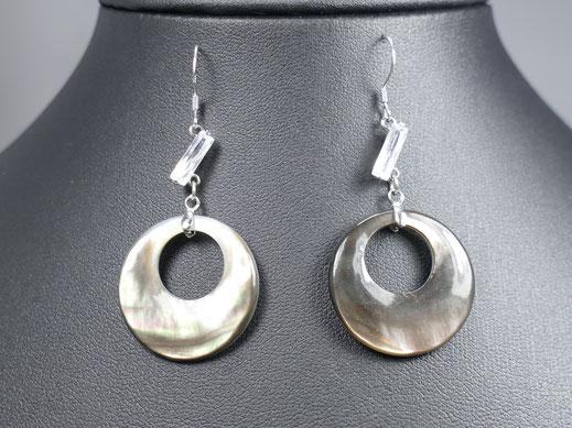 bijou Boucles d'oreilles anneaux de nacre pierre fine organique