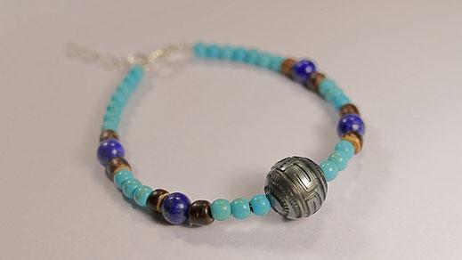 Bracelet perle de culture de Tahiti, turquoise, lapis lazuli et bois bijoux