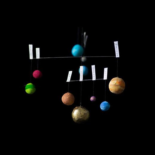 Urknall Knallbonbon Sonnensystem Mobilé Weihnachtsgeschenk handgemacht
