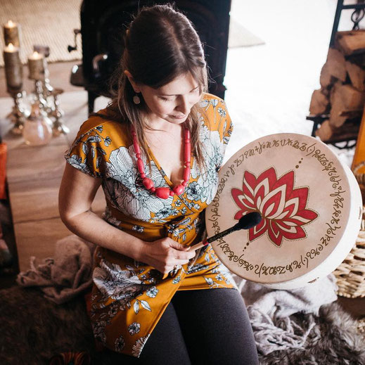 Tara Preston with her drum! Photo by Jen Grundner