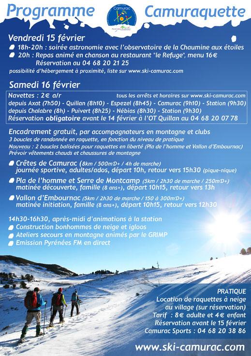 programme Camuraquette 2019 - Station de ski de Camurac
