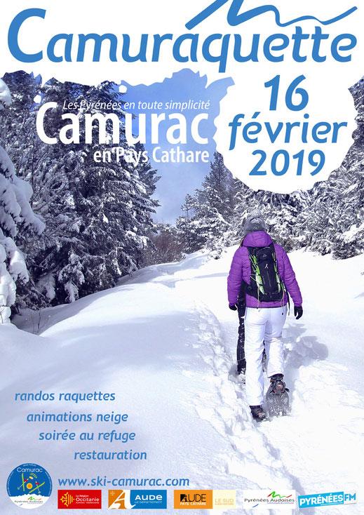 Affiche Camuraquette 2019 - Station de ski de Camurac