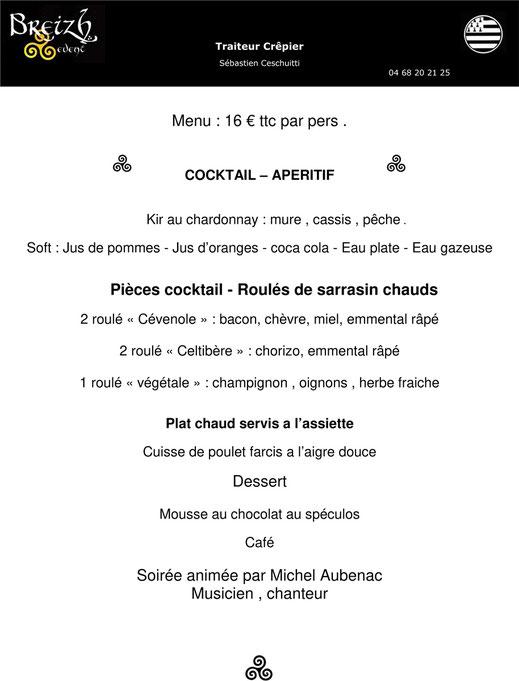 menu repas soirée Camuraquette