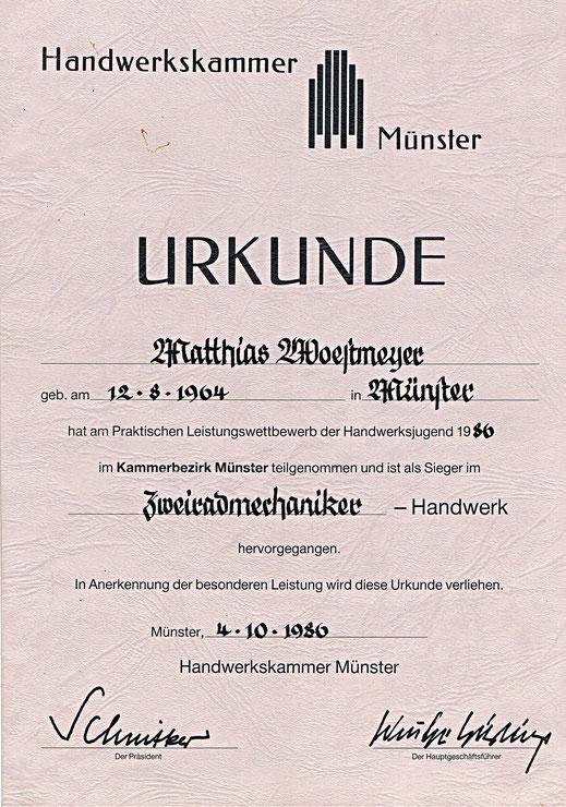 Urkunde Handwerkskammer Münster 1986