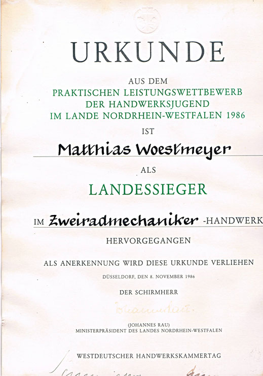 Urkunde Westdeutscher Handwerkskammertag 1986