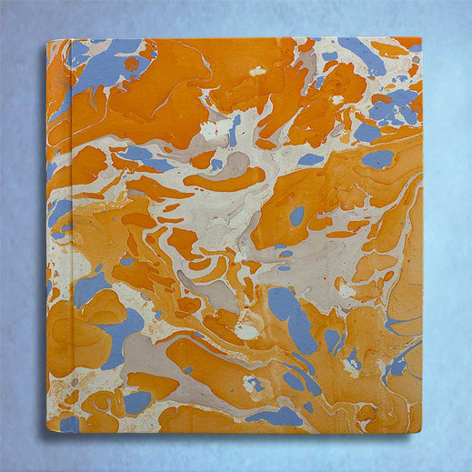 Album foto Viviana in carta marmorizzata arancio azzurro grande