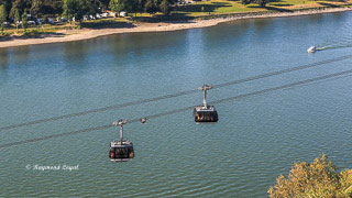 cable car over river rhine at koblenz