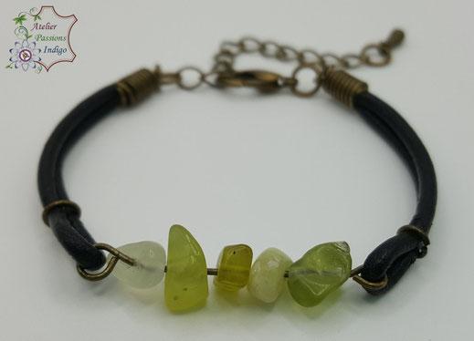Création artisanale atelier passions indigo bracelet  PIERROT Jade Citron cuir bijou colorée